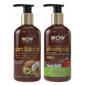 Buy WOW Hair Conditioner + Skin Science Apple Cider Vinegar Shampoo Free Paraben Sulphate - Nykaa