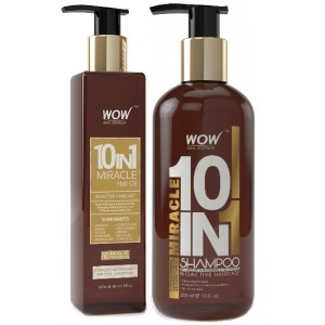 Buy WOW 10 in 1 Miracle Hair Oil + Organics Miracle 10 in 1 Shampoo(300ml) Paraben Sulphate Free - Nykaa