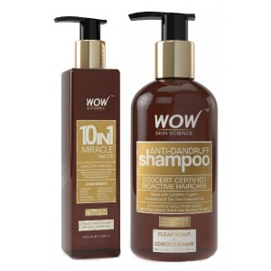 Buy WOW 10 in 1 Miracle Hair Oil + Organics Anti Dandruff Shampoo(300ml) Paraben Sulphate Free - Nykaa