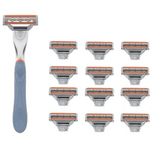 Buy WayToShave The Omega 3 Blade Razor (Pack Of 12 Cartridges + 1 Razor Handle) - Nykaa