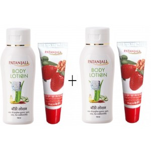 Buy Patanjali Strawberry Lip Balm + Body Lotion (Pack of 2) - Nykaa