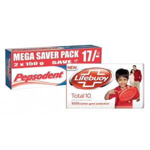 Buy Pepsodent Germi Check Healthy Fresh Long Lasting Protection - (150*2gm) + Free Lifebuoy Bathing Bar - 56gm - Nykaa