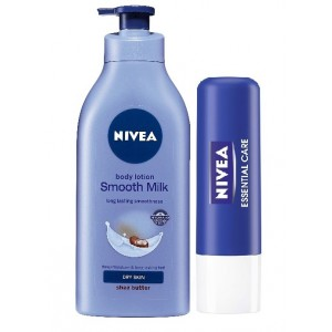 Buy Nivea Smooth Milk Body Lotion With Shea Butter + Free Essential Lip Care Lip Balm - Nykaa