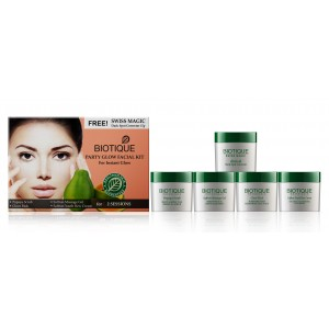 Buy Biotique Party Glow Facial Kit For Instant Glow + Free Swiss Magic Dark Spot Corrector  - Nykaa