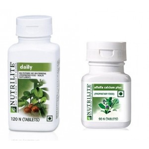 Buy Amway Nutrilite Daily 120 & Alfalfa Calcium Plus, 90 Tablets - Combo of 2 - Nykaa