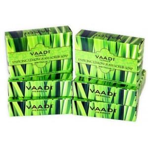 Buy Vaadi Herbals Super Value Pack Of 6 Enticing Lemongrass Scrub Soap - Nykaa