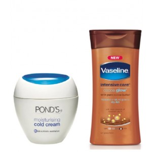 Buy Ponds Moisturising Cold Cream + Free Vaseline Intensive Care Cocoa Glow Lotion - Nykaa