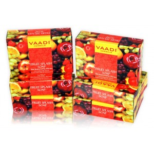 Buy Vaadi Herbals Value Pack Of 6 Fruit Splash Soap With Extracts Of Orange, Peach, Green Apple & Lemon - Nykaa