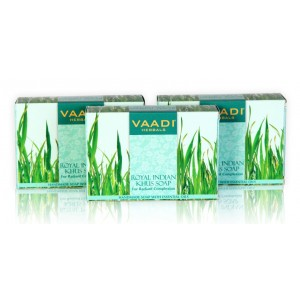Buy Vaadi Herbals Value Pack Of 3 Royal Indian Khus Soap With Olive & Soyabean Oil - Nykaa