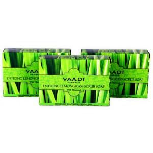 Buy Vaadi Herbals Value Pack Of 3 Enticing Lemongrass Scrub Soap - Nykaa