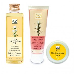 Buy Herbal Auravedic Skin Lightening Combo Oil + Mask + Face Wash - Nykaa