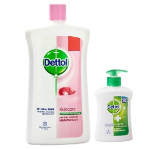 Buy Dettol Skincare pH-Balanced Handwash (900 ml) + Free Original Liquid Handwash Pump (215ml) - Nykaa