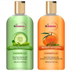 Buy St.Botanica Green Tea And Cucumber + Mandarin Cypress Luxury Shower Gel - Nykaa