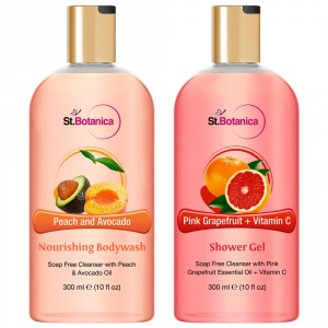Buy St.Botanica Peach and Avocado Nourishing Body Wash + Pink Grapefruit & Vitamin C Luxury Shower Gel - Nykaa