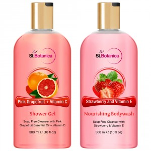 Buy St.Botanica Pink Grapefruit & Vitamin C Shower Gel + Strawberry And Vitamin E Nourishing Luxury Body Wash - Nykaa