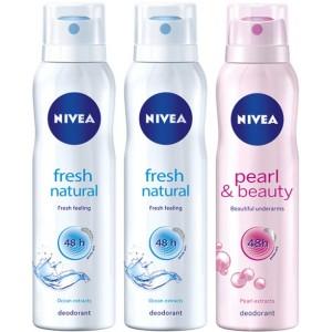 Buy Nivea Buy 2 Fresh Natural Deos & Get 1 Pearl & Beauty Deo Free - Nykaa