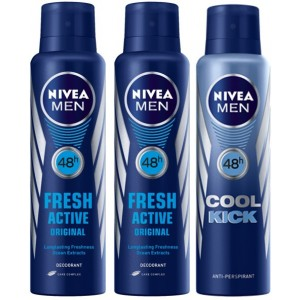 Buy Nivea Men Buy 2 Fresh Active Deos & Get 1 Cool Kick Deo Free - Nykaa