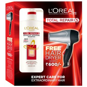 Buy L'Oreal Paris Total Repair 5 Shampoo + Free Hair Dryer - Nykaa