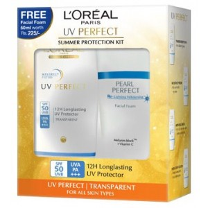 Buy Herbal L'Oreal Paris UV Perfect Transparent + White Perfect Facial Foam Worth Rs. 225/- - Nykaa