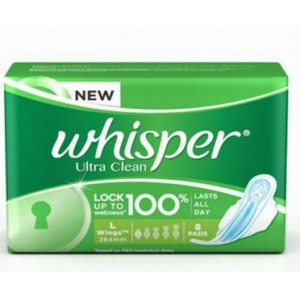 Buy Whisper Ultra Clean Sanitary Pads Large Wings Size 8 pc Pack - Nykaa