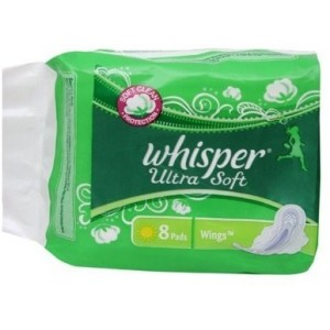 Buy Whisper Ultra Soft Sanitary Pads Large Wings Size 8 pc pack - Nykaa