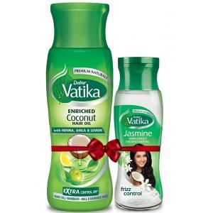 Buy Dabur Vatika Enriched Coconut + Free Jasmine Non sticky Coconut HairOil - Nykaa