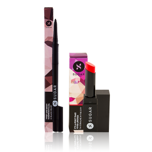 Buy SUGAR Twist And Shout Fadeproof Kajal + It's A-Pout Time! Vivid Lipstick - 04 Coraline In The City - Nykaa