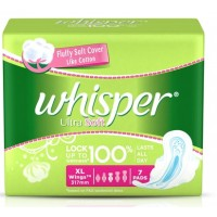 Whisper Ultra Soft Sanitary Pads Xtra Large Wings Size 7 pc pack