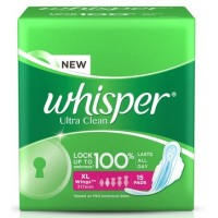 Whisper Ultra Sanitary Pads Xtra Large Wings Size 15 pc Pack