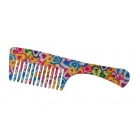 FeatherFeel Printed Hearts Unlimited Handle Comb