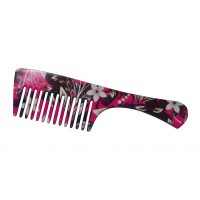 FeatherFeel Printed Pink Floral Handle Comb