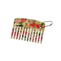 FeatherFeel Printed Florentine Flower Mini Purse Comb