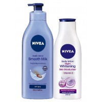 Nivea Body Lotion Smooth Milk + Body Lotion Night Whitening Skin Moisturiser (200ml)