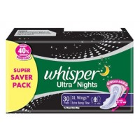 Whisper Ultra Overnight Sanitary Pads XL Wings Size 30 pc Pack