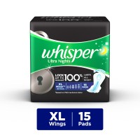 Whisper Ultra Overnight Sanitary Pads Xtra Large Wings Size 15 pc Pack