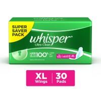 Whisper Ultra Sanitary Pads Xtra Large Wings Size 30 pc Pack