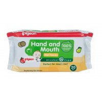 Pigeon 2 In 1 Hand And Mouth Wipes (20 Sheets)
