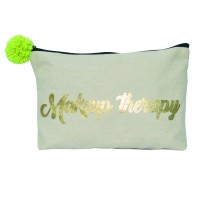 "Danali Gold Foil Printed ""MAKEUP THERAPY"" Utility Pouch"