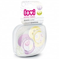 Lovi Dynamic Soother Silicone 6-18 Months (Trendy) Purple & Yellow