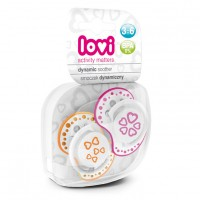 Lovi Dynamic Soother Silicone 3-6 Months (Basic) Pink & Orange