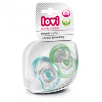 Lovi Dynamic Soother Silicone 0-3 Months (Spark) Blue & Green