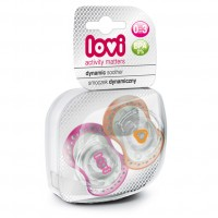 Lovi Dynamic Soother Silicone 0-3 Months (Spark) Pink & Orange