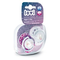 Lovi Dynamic Soother Silicone 0-3 Month (Night&Day) Pink (Glows in the Dark)