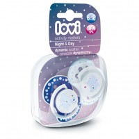 Lovi Dynamic Soother Silicone 6-18 Month (Night&Day) Blue (Glows In The Dark)