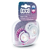 Lovi Dynamic Soother Silicone 6-18 Month (Night&Day) Pink (Glows In The Dark)