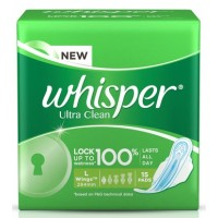 Whisper Ultra Clean Sanitary Pads Large Wings 15 pc Pack