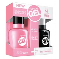Sally Hansen Miracle Gel Dual Pack - 2xvolume Top Coat + Pink Cadillaquer
