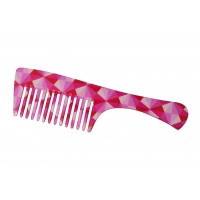 FeatherFeel Printed Pink Mosaic Handle Comb