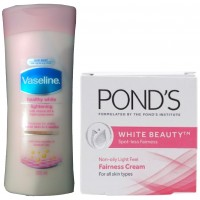 Vaseline Healthy White Lightening Lotion With Free Ponds White Beauty Fairness Cream