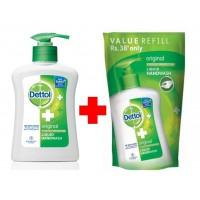 Dettol Original Liquid Handwash + Orginal Liquid Handwash Pouch 185ml